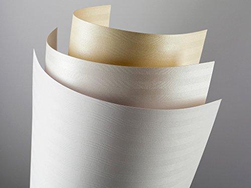 20 FALAMBI Premiumkarton Bali perlweiß, Papier 220 g/m², bedruckbar, fein geprägter durchgefärbter Karton