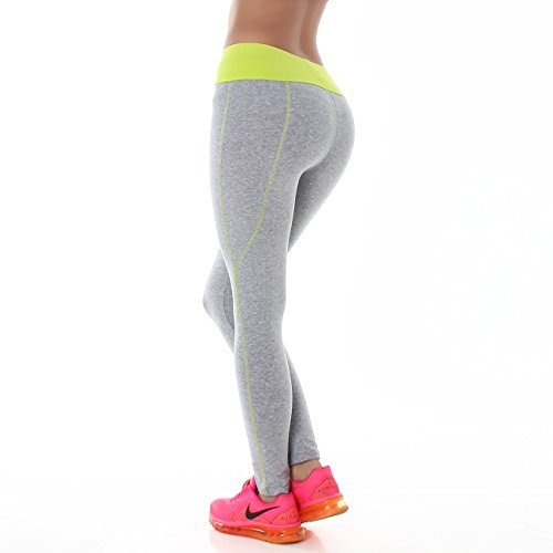 PF-Fashion Damen Leggings Sporthose Fitness Joga Hoher Bund Leggins Tapered Body Slim Hose Karotte Lang Grau-Neon Gelb