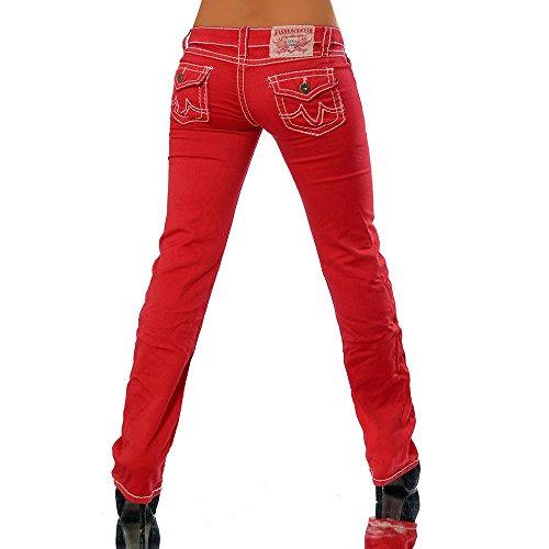 H922 Damen Bootcut Jeans Hose Damenjeans Hüftjeans Gerades Bein Dicke Naht Nähte Rot