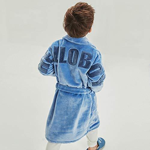 WANG-LONG Pyjama Enfant Pyjamas Vêtements De Nuit Chemise De Nuit Garçon Hiver Flanelle Toison De Corail Revers Bleu Ceinture WANG-LONG
