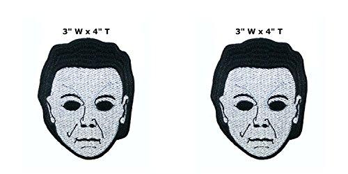 eitag der 13. Michael Myers Halloween Cosplay Badge gesticktes Eisen oder aufgesetzte Aufnäher Patch 2er Pack Geschenk-Set ()