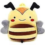 DZert Bee Kids School Bag Soft Plush Backpacks Cartoon/Boy/Girl/Baby/ (2-5 Years) (Yellow)