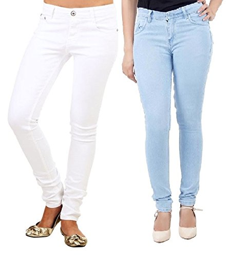 Adbucks Silky Cotton Lycra Stretchable Womens Jeans (Combo of 2) (40, Icyblue+White)