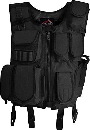 (normani SWAT Weste Einsatzweste mit vielen Taschen und Pistolenholster in Schwarz Farbe Schwarz Größe M/L)