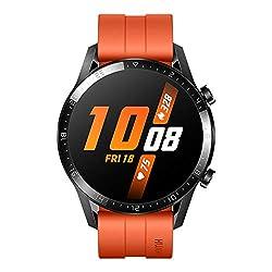 Huawei Watch GT 2 Smartwatch (46 mm Full- Screen AMOLED Touchscreen, GPS, Fitness Tracker, Herzfrequenzmessung, 5 ATM Wasserdicht) Fluorelastomer Armband, Sunset Orange