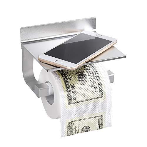Wopeite Toilettenpapierhalter ohne Bohren Aluminium mit Handy-Ablage Regalgestell matte Lackierung (verbesserte Version)
