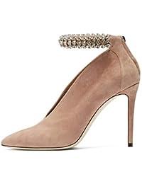 16842d56c9e LL De las mujeres Ante Tacón alto delgado Zapatos solos Brillante Diamante  de imitación