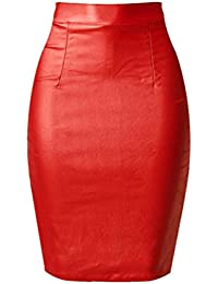 e4d279dc2f YiLianDa Womens Faux Leather Ladies Bodycon Stretch Wet Look Pencil Fitted Midi  Skirt