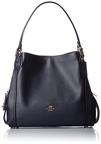 Coach Edie 31 Ladies Large Pebbled Leather Navy Shoulder Bag 57125 -