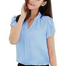 Minetom Mujer Blusa Casual Cuello en V Manga Corta Color Sólido Camisa Suelto Camiseta Verano Moda