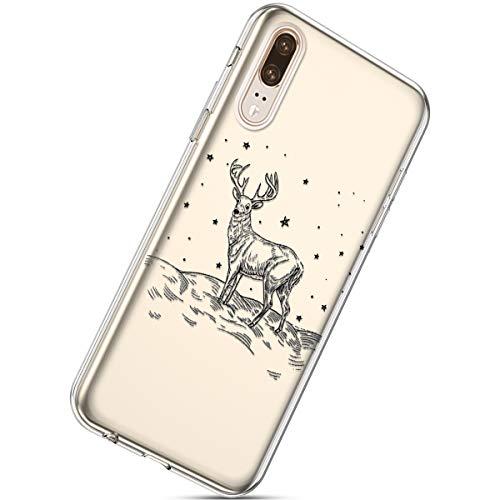 Kompatibel mit Handytasche Huawei P20 Crystal Clear Ultra Dünn Durchsichtige Silikon Schutzhülle Weiche TPU Schutzhülle Silikon Dünn Case Kirstall Transparent Handyhüllen,Weihnachten Elch