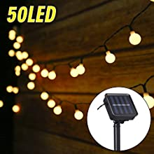 Solar String Lights Outdoor Waterproof 50 Led Solar-Powered Garden Lights Warm White for Garden Patio Tomshine