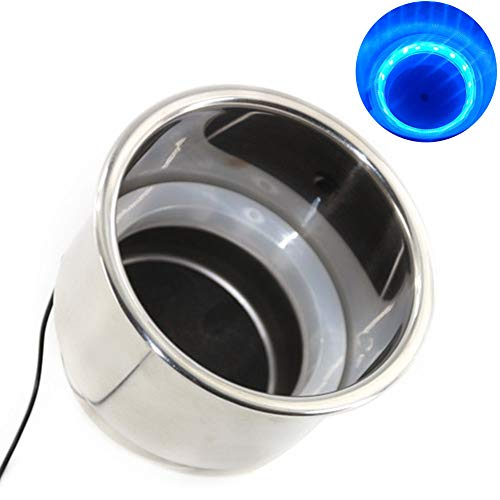1PC/2Pcs Car Cup Holder Lights,Self Adhesive Stainless Steel LED Light Cup Holder,Decoration for Car Interior,Ships,Yachts,Motor Homes,Tables