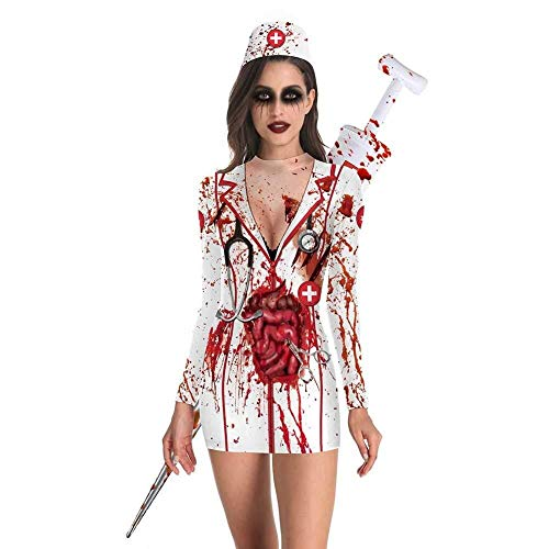 Womens Night Nurse Kostüm - Hcxbb-b Kostüm, Halloween Horror Bloodthirsty Zombie Nurse, Kostüm Outfits Dress Up (Farbe : White, Size : M)