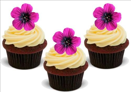 Helle Fuschia Rosa Blume 12 essbare hochwertige stehende Waffeln Kuchen Toppers, Bright Fuschia Pink Flower 12 Standup Premium Wafer Cake Toppers
