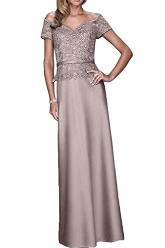 Gorgeous Bride Fashion V-Ausschnitte Etui Satin Spitze Lang Abendkleid Promkleid Abendmode Grau