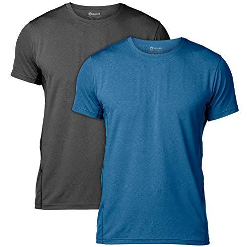 T-Shirt, Herren Sport Performance T-Shirt, Quick-Dry Herren Sport Funtionkstshirt , XXL / XX-Large ( Brust 119 - 124 cm ).,  Schwarz+blau / 2 Pack ()