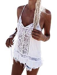 Crop tops mujer tumblr verano ❤️ Amlaiworld Camiseta de verano sin mangas de gasa de encaje de mujeres Chaleco de blusa Casual Tank Tops (Blanco, M)