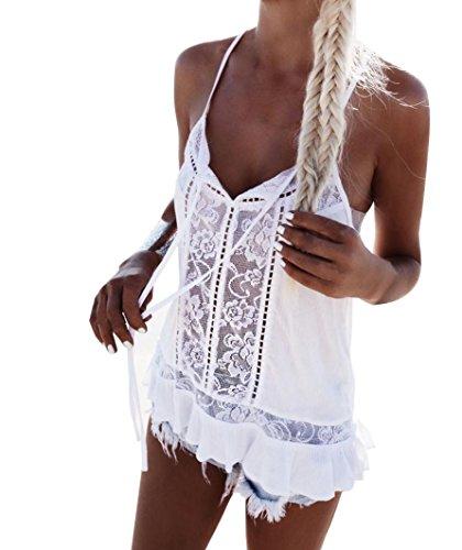 Crop tops mujer tumblr verano ❤️ Amlaiworld Camiseta de verano sin mangas de gasa de encaje de mujeres Chaleco de blusa Casual Tank Tops (Blanco, S)