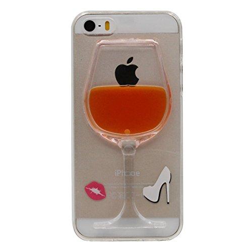 Hülle Cover für iPhone 5 5S SE, Halter Funktion, Mini-Wein-Schale Modellieren schwimmend Flüssigkeit Serie Verschiedene Farbe zu wählen, Schlank / Transparent Case Orange