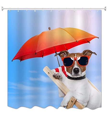 mmel Glücklicher Hund Sitzt Am Strand Stuhl Sonnenbaden Lustig Tier Liebhaber Thema Wasserdicht Mehltau Resistent Duschvorhang Für Bad 150X180 cm / 60