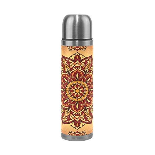TIZORAX Mittelalter Hippie Bohemian Psychedelic doppelwandige Vakuum Cup Isolierte Edelstahl-Flasche Travel Becher Thermos Kaffee Tasse 17oz