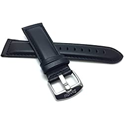 28mm wide, Black Genuine Leather Watch Band Strap, Mat Finish, Tone-on-Tone Stitching, Also Comes in Brown, Tan and Light Brown