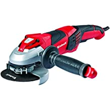 Einhell TE-AG 125 CE -Amoladora, mango auxiliar regulable, disco de 125 mm, 3000 - 11000 rpm, 1100 W, 230 V, color negro y rojo