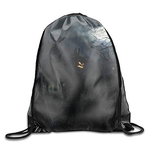 en Outdoor Sport Gym Sack Halloween Scarecrow Jack-o-lanternven Tree Night Dark Waterproof Drawstring Backpack Bag ()