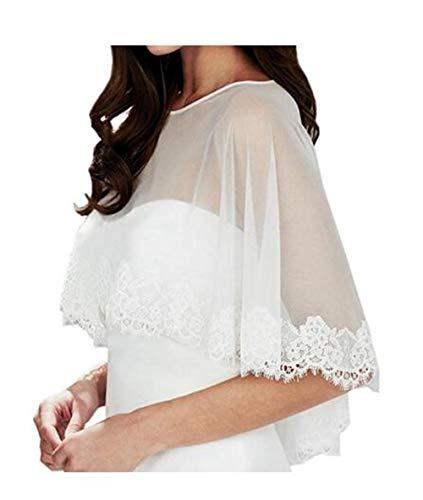 Meibida scialle in tulle di pizzo avvolto nello scialle della giacca da sposa della sposa (bianco)