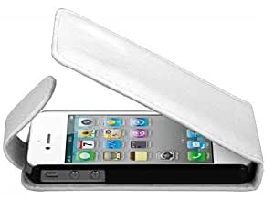 White Top Flip Case For Apple Iphone 4 4S Case Includes Screen Protector By Connect Zone ™