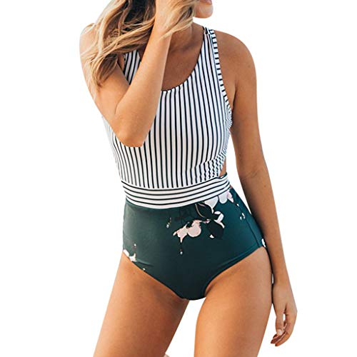 LMRYJQ Damen Bikini-Sets Frauen gestreiften Blätter Reißverschluss Weste Riemen Bikini einteiliger Badeanzug