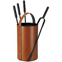 Schössmetall 04220020 - Porta attrezzi per camino Samba, cilindrico, con 4 accessori inclusi, color cuoio