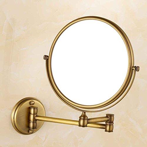 Miroirs Salle de Bains Mural Pliant Télescopique Salle De Bains Trois Fois Grossissement Noir Classique Suspendu De Beauté (Couleur : Bronze)