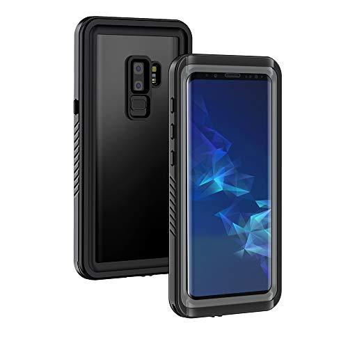 Lanhiem Wasserdichte Hülle Kompatibel mit Samsung Galaxy S9 Plus, [IP68 Zertifiziert Wasserdicht] Handy Hülle, Stoßfest Staubdicht und Schneefest Unterwasser Outdoor Schutzhülle(Schwarz + Grau)
