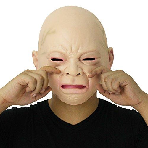 Cusfull Neue Latex Gummi gruselig Schreibaby Maske Gesicht Kopfmaske Halloween Weihnachten Party Dekoration Erwachsene (Masken Weihnachten)