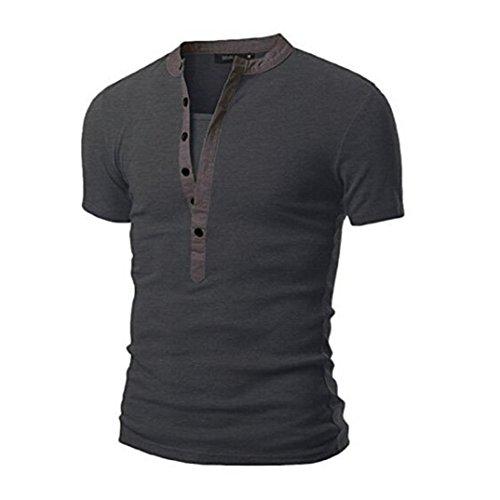 SEWORLD Herren Sommer Mode Herren Beiläufig Solide Patchwork V-Ausschnitt  Kurzarm T-Shirt Top Bluse(Dunkelgrau,EU-44 CN-L) c72be908b9