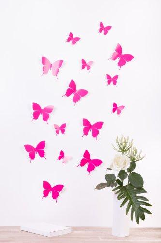bilderdepot24-mariposas-en-3d-style-neon-fucsia-brillo-15-piezas-en-el-conjunto-incluye-puntos-adhes