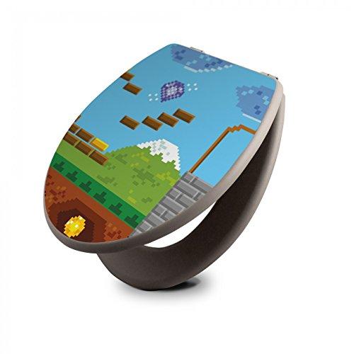 Preisvergleich Produktbild banjado - taupe Design Toilettendeckel WC Sitz Brille 36cm x 5,5cm x 42,5cm mit Motiv Jump and Run
