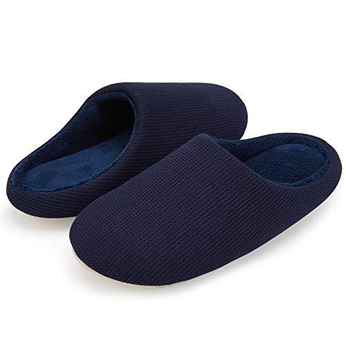 VIFUUR Männer Haus Hausschuhe High-Density-Memory-Foam Warm Indoor Anti-Skid Gummisohle Baumwolle Slip On Schuhe Marine 46/47 XL