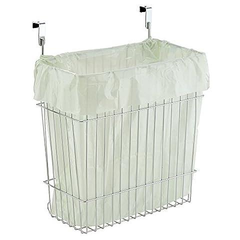 mDesign Over-the-Cabinet Wastebasket Trash Can or Storage Basket for Kitchen - Chrome