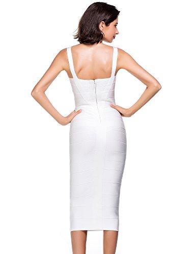 Alice & Elmer Damen Rayon Knielang Bodycon Evening Cocktailkleid Bandage  Party Dress Abend Club Kleid Weiß
