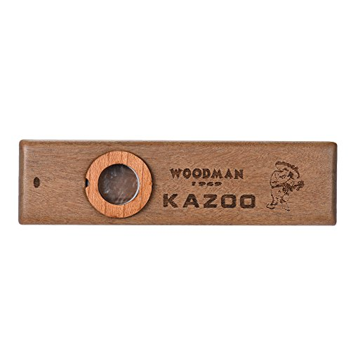 ammoon Wooden Kazoo Musical Instrument Ukulele Guitar Partner Wood Harmonica with Metal Box for Music Lover