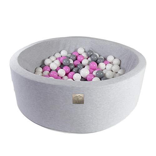 Bällebad mit Bällen Mädchen Junge - Bälle Bad für Kinder Baby rund 300 Bälle 90x40 cm grau/weiß/hellrosa
