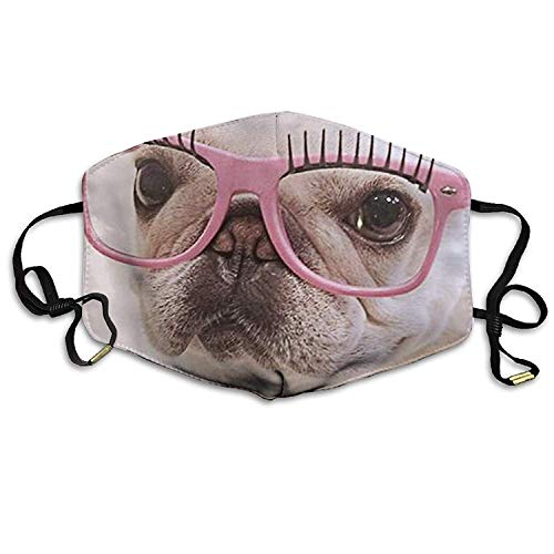 Fashion Outdoor Mouth Mask with Design, Reusable Half Face Mask Anti-dust Mask, Womens Face Mask Anti-Dust Respirator Gift French Bulldog Pink Glasses Vintage Milk Glass