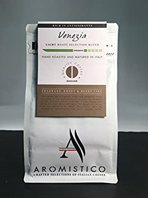 AROMISTICO | Intense Crema Light Roast | Premium Italian GROUND COFFEE | VENEZIA BLEND | For Cafetiere/French Press, Filter, Pour Over, Drip, Moka Pot or Aeropress | FRAGRANT, SWEET and BERRY-LIKE by Arca S.r.l