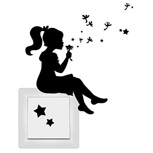 """Wandtattoo Loft Aufkleber """"Mädchen mit Pusteblume, Pollen und Sternen"""" für Lichtschalter, Steckdose oder Wand / Aufkleber /Sticker / Wandaufkleber / 54 Farben / elfenbein /"""