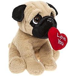 21cm Peluche carlin avec cœur amour pour cadeau saint valentin