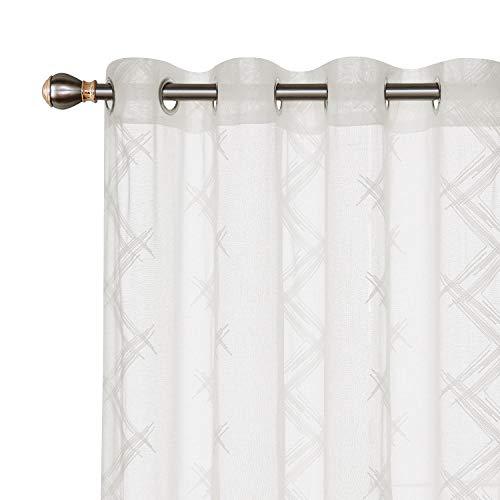 Deconovo Tende Trasparenti in Voile Ricamate per Cucina con Anelli 140x240cm Beige 2 Pannelli
