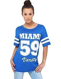 KRISP Damen Baseball Shirt mit Aufdruck Oversize Oberteil Große Größen 36 - 48